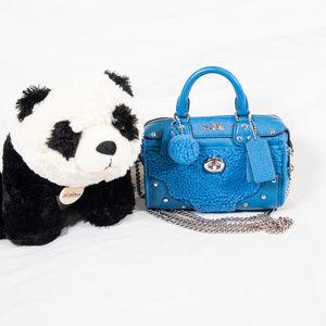 New teal blue fluffy Coach Rhyder 18 satchel